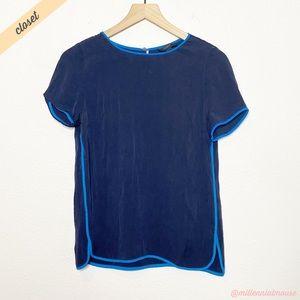 [J. Crew] Navy Blue Silk Blend Keyhole Blouse